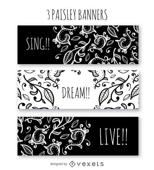 Plantilla de banner de paisley blanco y negro