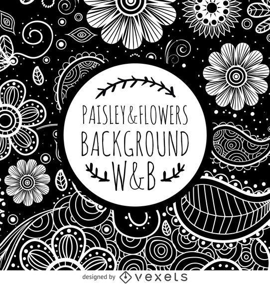 Graustufen-Blumenstrudelmuster