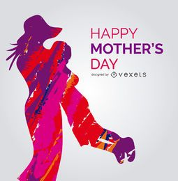 Vibrant mother and child vector with message