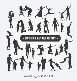 Conjunto de silhuetas de dia das mães