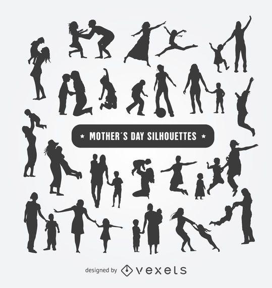 Conjunto de siluetas del día de la madre.