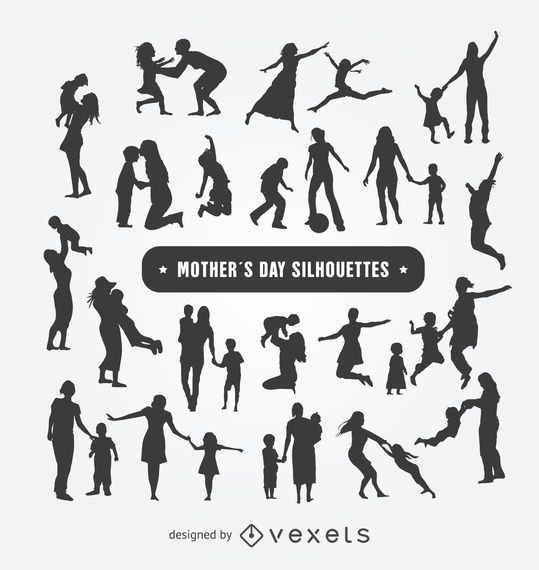 Mother's Day silhouettes set