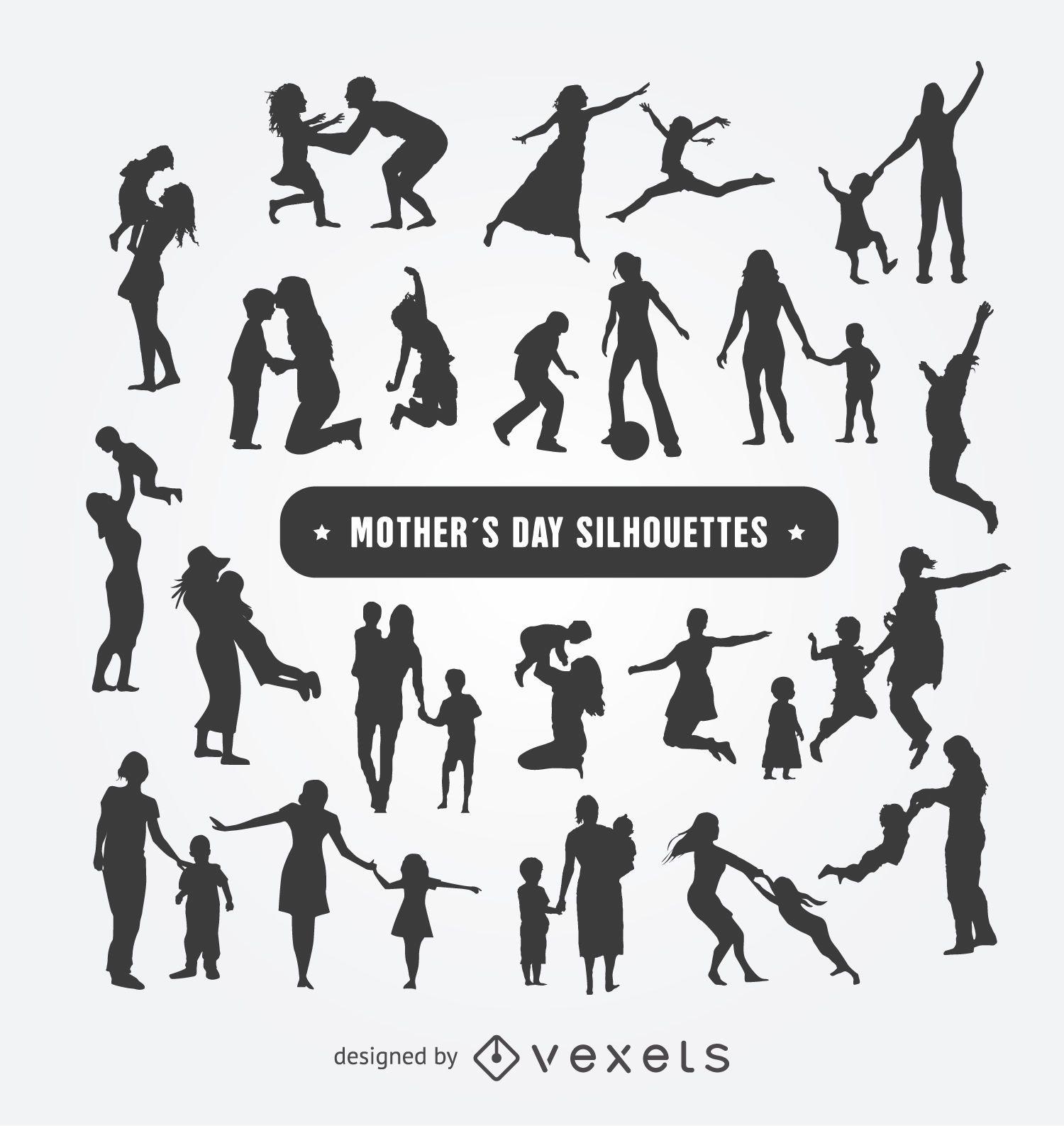 Conjunto de siluetas del d?a de la madre
