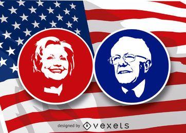 Hilary Clinton and Bernie Sanders stencil