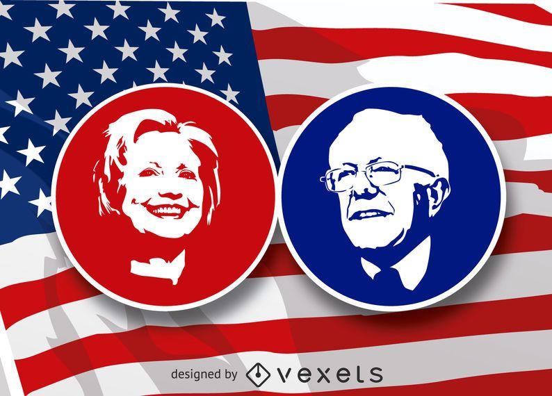 Estêncil de Hilary Clinton e Bernie Sanders