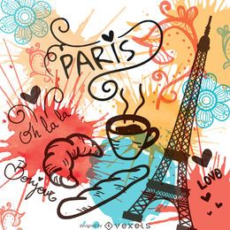 Watercolor Paris landmarks