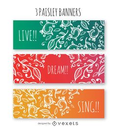 Colorful paisley banner set