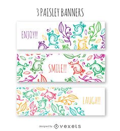Floral swirl banner set