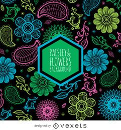 Pasley and flowers pattern over black background