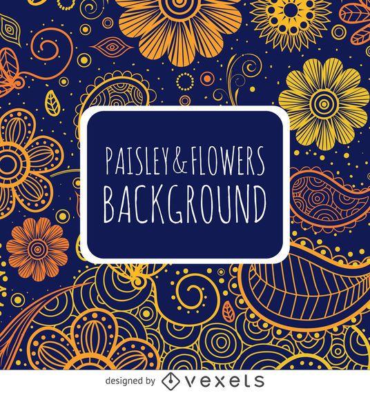 Padrão de Paisley em laranja e azul