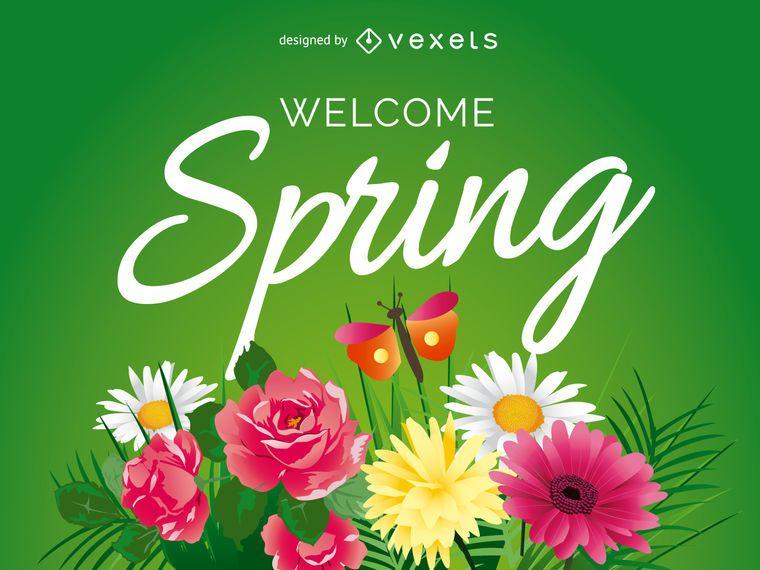 Bienvenido signo de primavera con flores