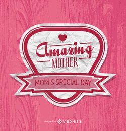 Insignia del dia de la madre en color rosa.