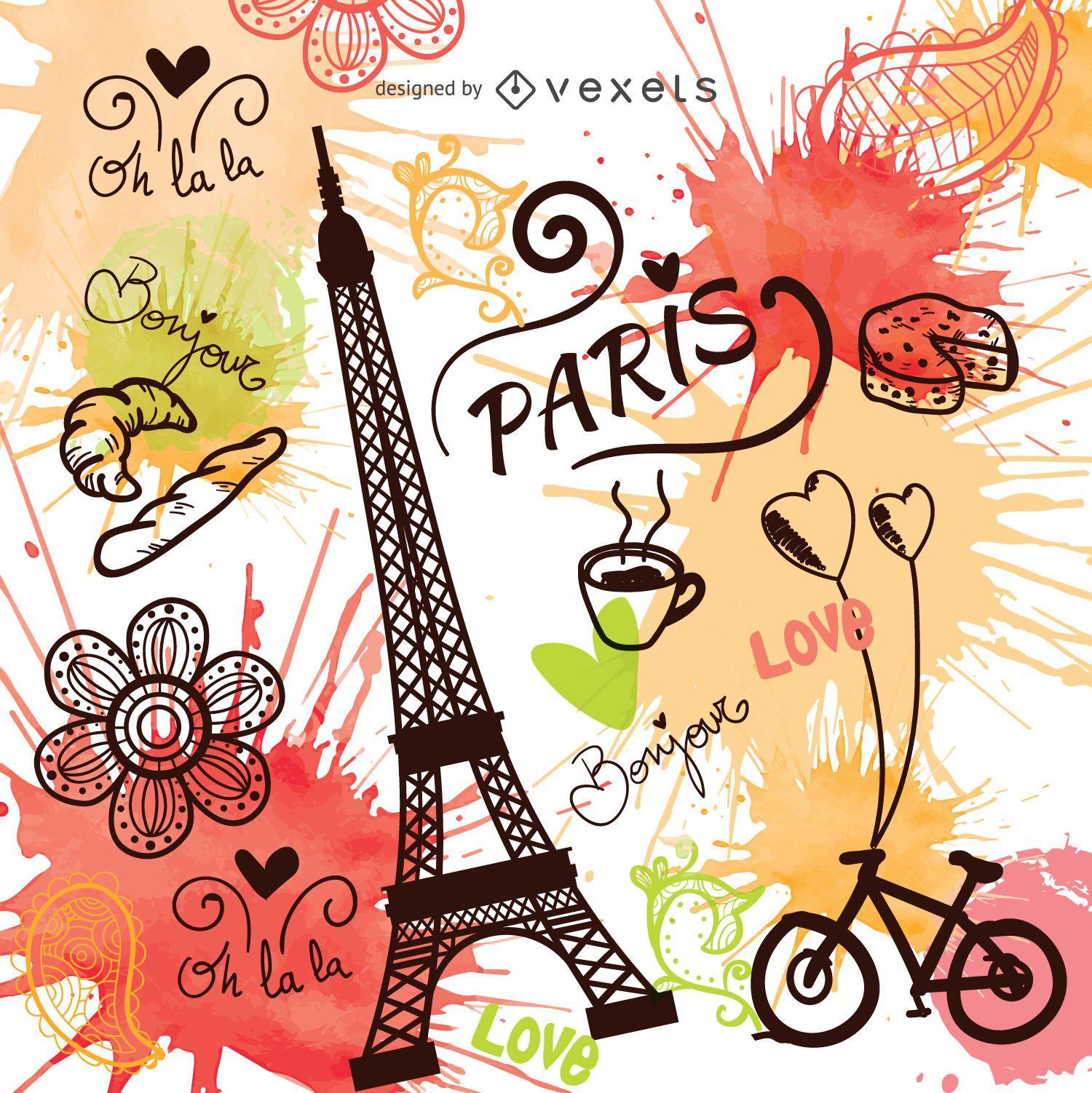 Vintage gezeichnete Paris-Vektor der Weinleseart