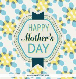 Crachá do dia das mães em azul e amarelo