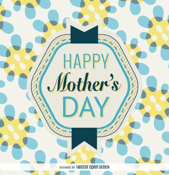 Insignia del día de la madre en azul y amarillo.