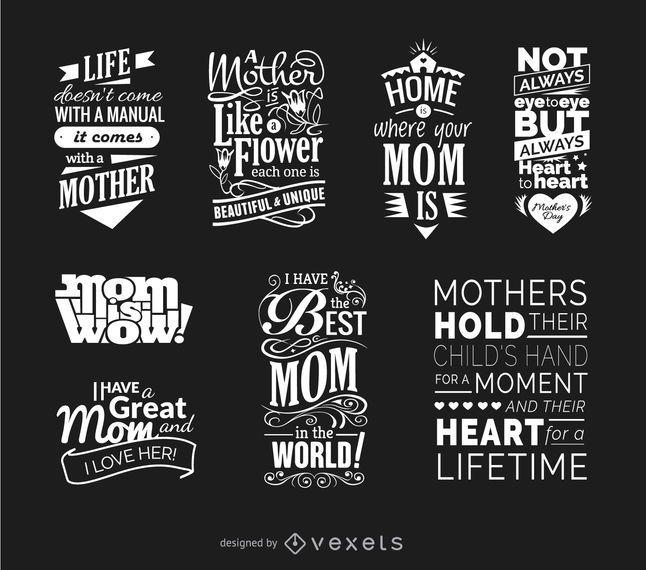 Conjunto de vetores de citações de dia das mães