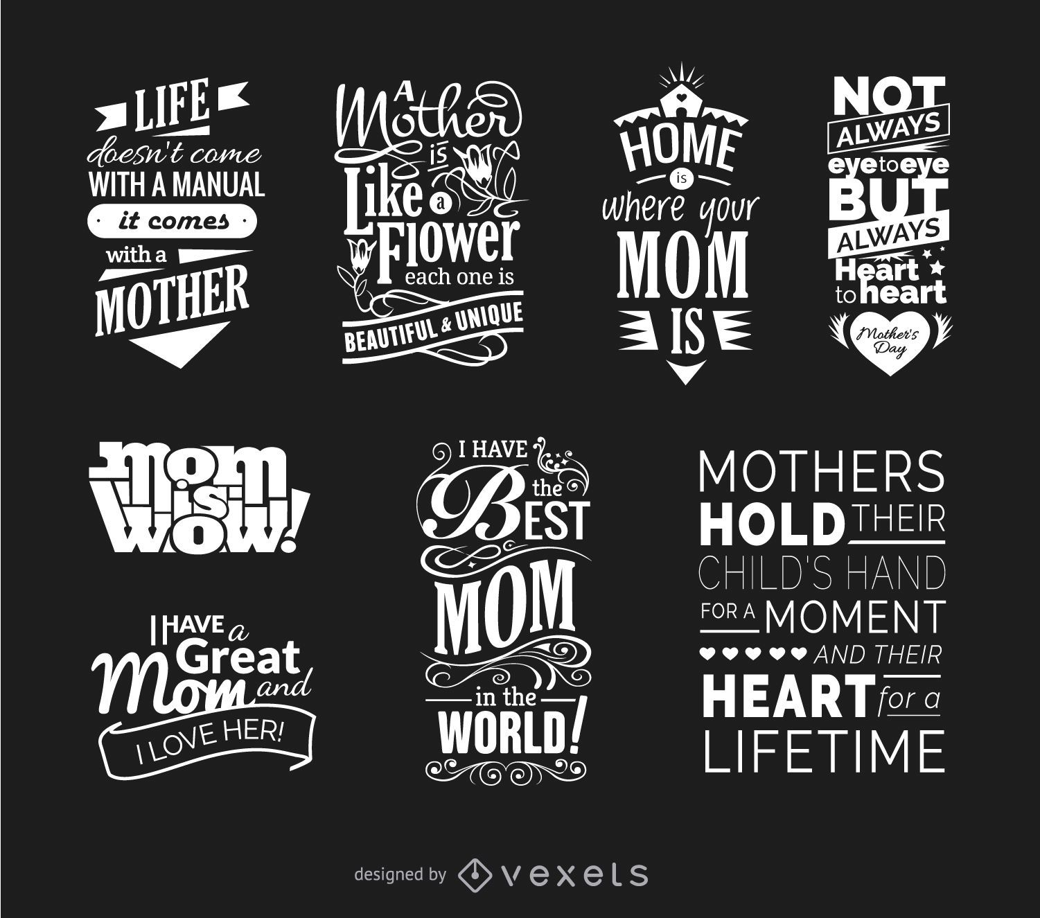 Mothers Day Quotes Vector Set Vector Download