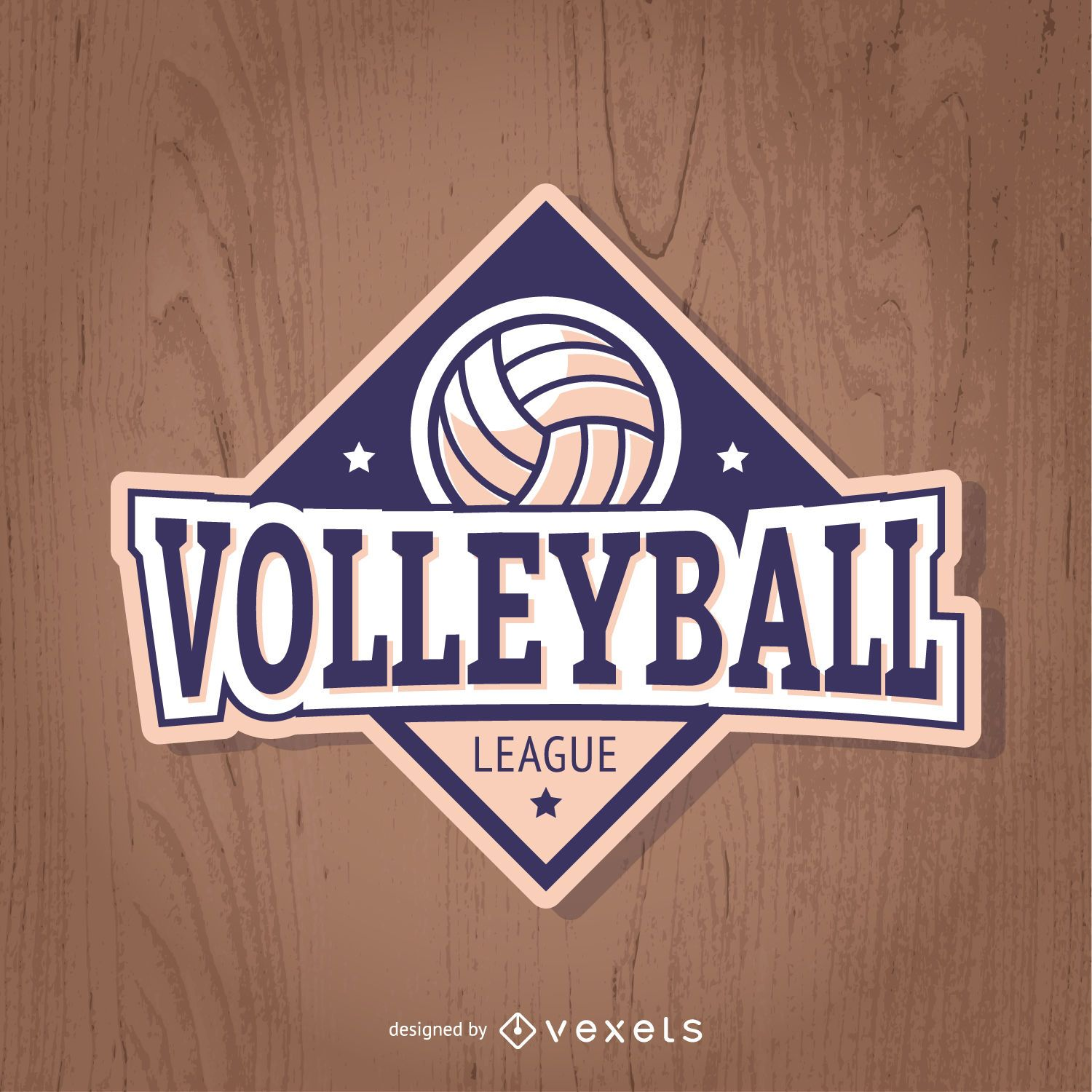 Volleyball badge in purple and light pink