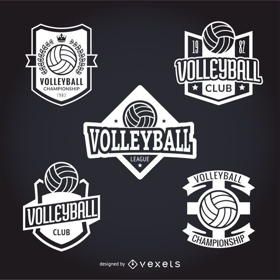 Set of volley stickers