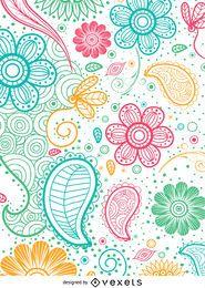 Padrão paisley colorido