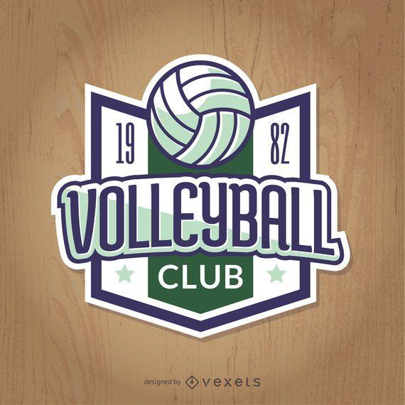 insignia de voleibol de la vendimia en verde y azul