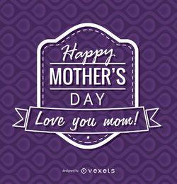 emblema roxo do dia de mãe feliz