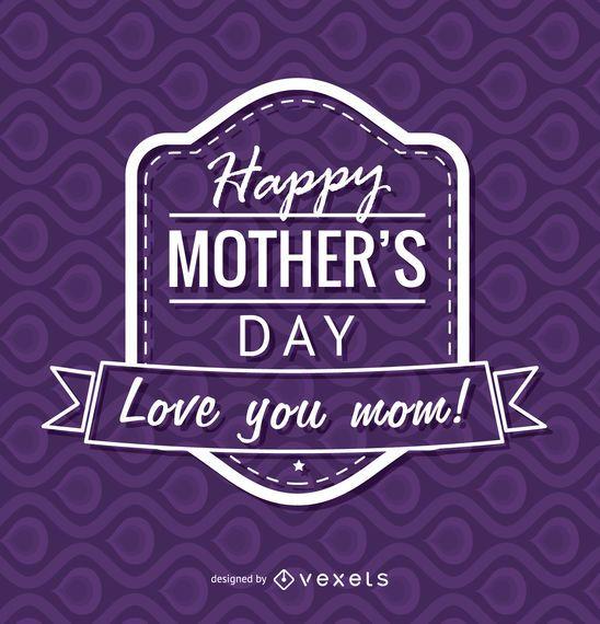 Distintivo de dia das mães feliz roxo