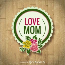 Crachá floral do dia das mães
