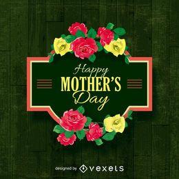 Muestra feliz del día de madre con las flores