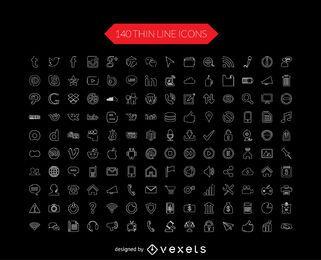 Coleção de ícone de linha fina de mídia social