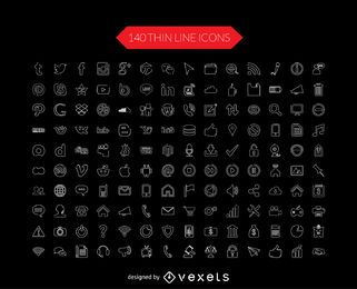 Los medios sociales línea fina colección de iconos