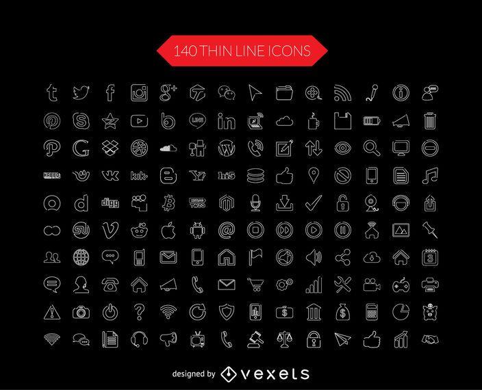 Medios de comunicación social colección de iconos de línea delgada
