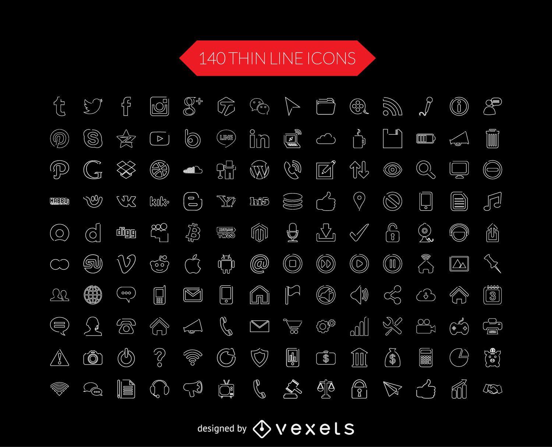 Coleção de ícones de linha fina de mídia social