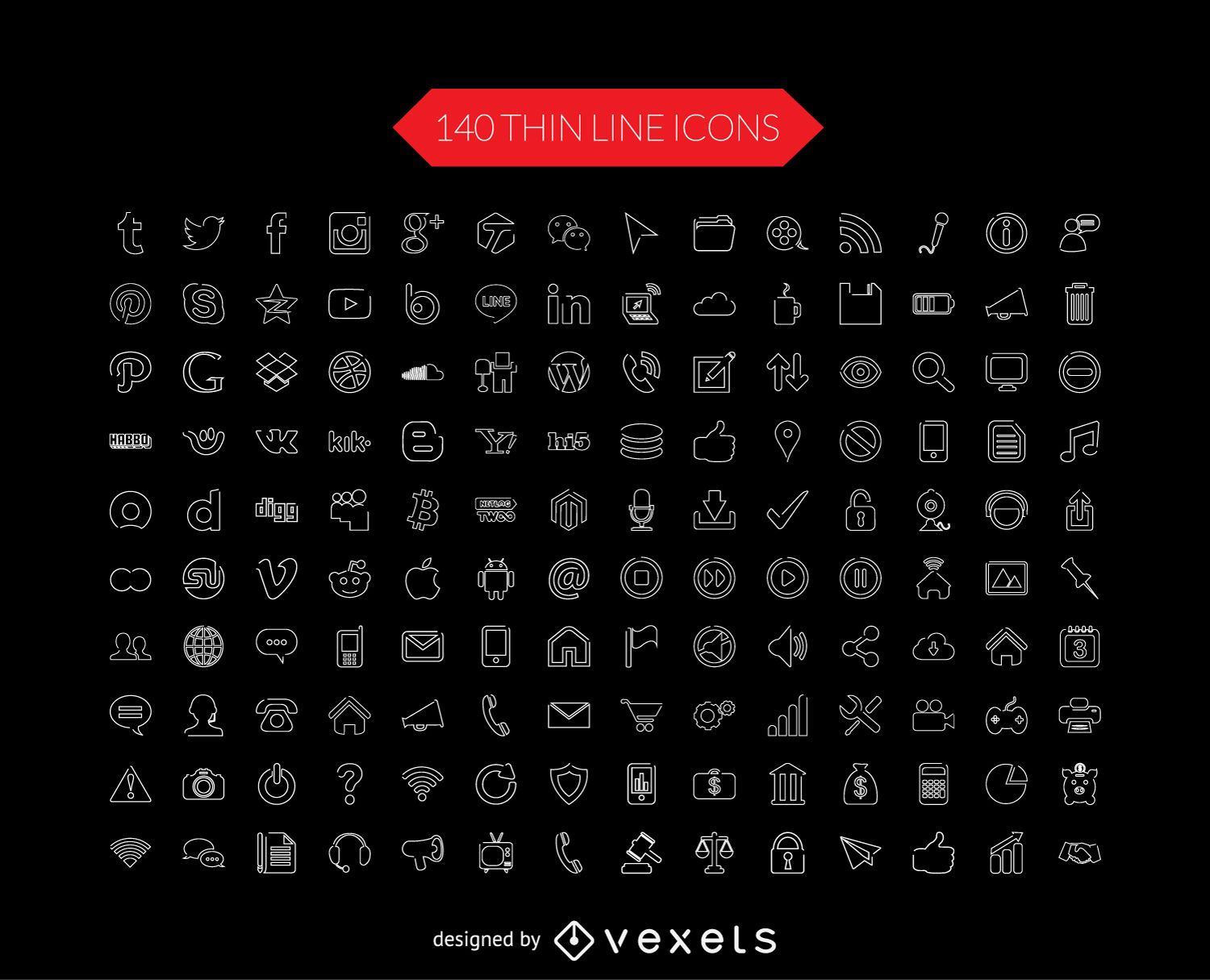 Social media thin line icon collection