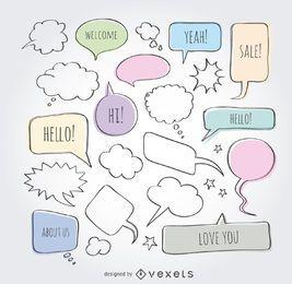 Doodle conjunto de burbujas de discurso cómico