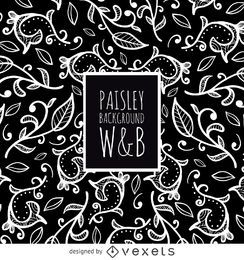 Nahtloses Paisley-Muster in Schwarzweiss