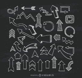 Colección de flechas ilustradas