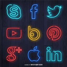 Conjunto de iconos de redes sociales de neón