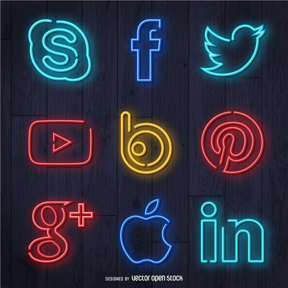 Conjunto de ícones de mídia social de néon