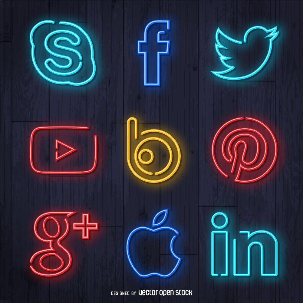 Neon social media icon set