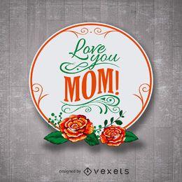 Emblema do dia das mães feliz floral