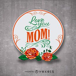 Floral Happy Mother's Day badge