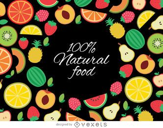 Drawn organic fruit background