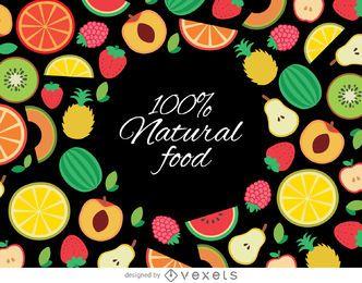 Fundo de frutas orgânicas desenhadas