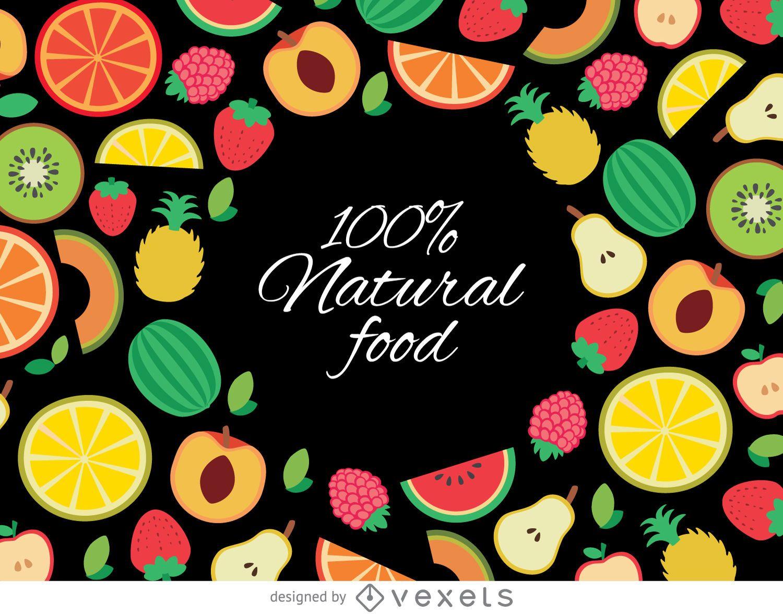 Fondo de frutas orgánicas dibujadas