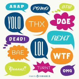 Slangwörter Sprechblase gesetzt