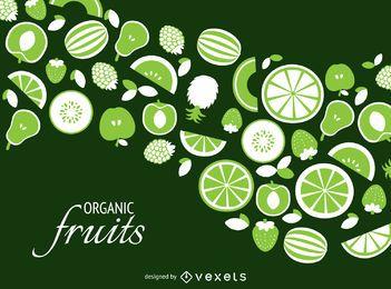 Cenário de frutas orgânicas verde