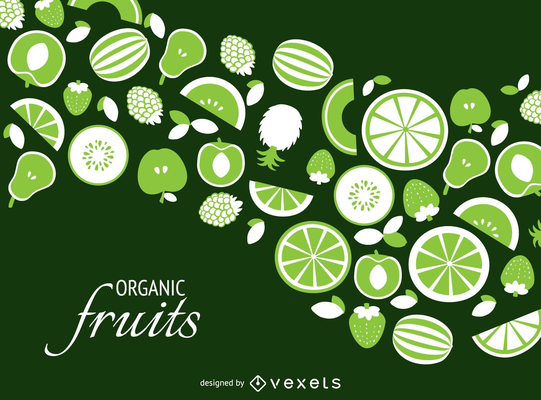 Green organic fruit backdrop