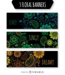 Floral banner set over black background
