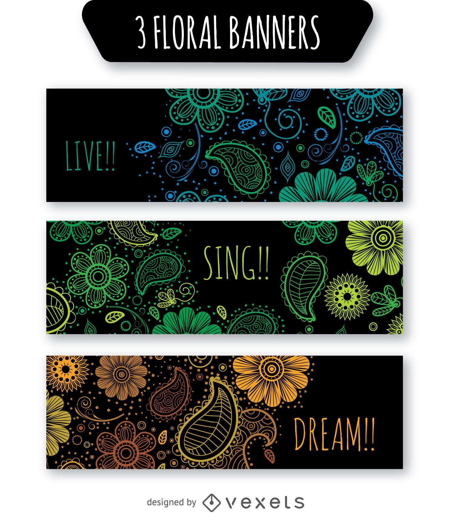 Floral banner set over black background
